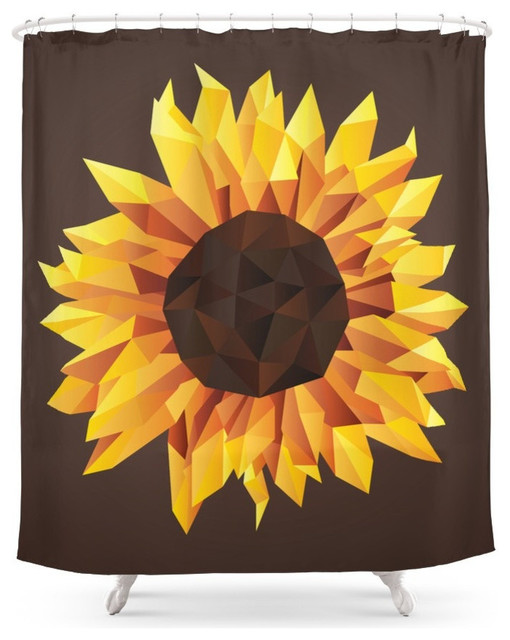 Polygonal Sunflower Shower Curtain