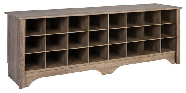 Superb Prepac 60 Shoe Cubby Bench In Drifted Gray Evergreenethics Interior Chair Design Evergreenethicsorg