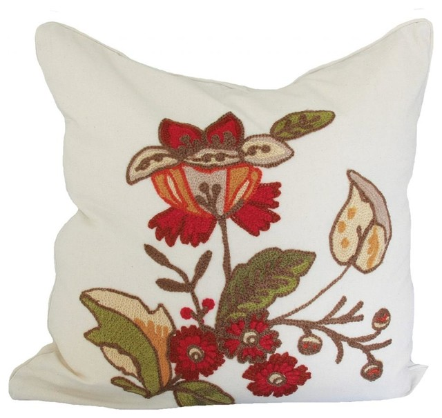 Traditional Decor Pillows : Xia Home Fashions - Floral Crewel Feather Filled Pillow, 18x18 - View in Your Room! Houzz