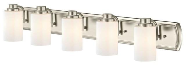 5-Light Bath Bar in Satin Nickel and Shiny Opal Glass
