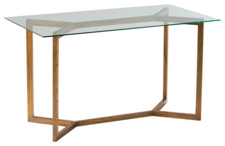 Minimalist Glass Desk With Wooden Legs, Natural
