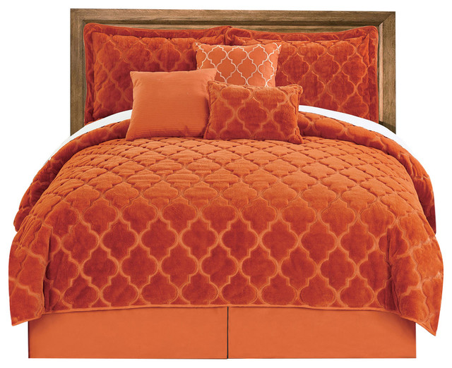 BNF Home Ogee Faux Fur Embroidered 7 Piece Bed Spread Set