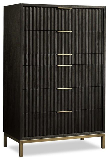 Westmont Chest, Black / Brushed Steel.