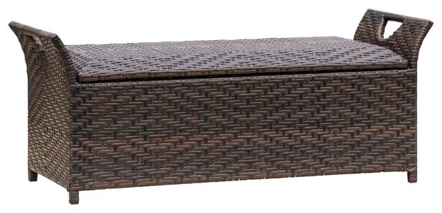 Exceptional Izidora Outdoor Wicker Storage Bench, Brown