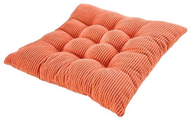 2 Piece Corduroy Home Square Chair Cushion Pads, Orange   Contemporary   Seat  Cushions   By Blancho Bedding