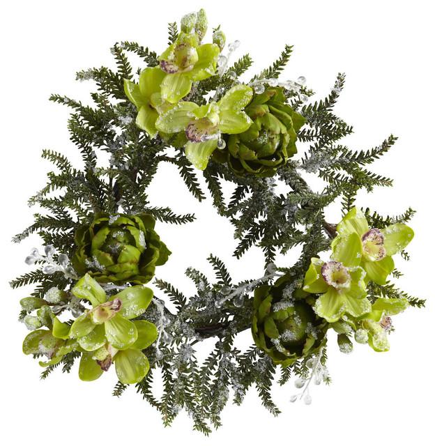 "22"" Iced Cymbidium And Artichoke Wreath."
