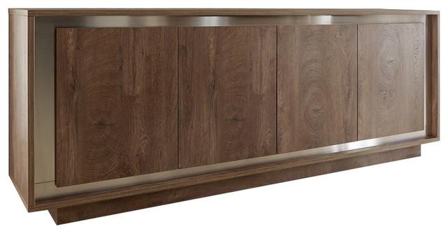 Amber Modern Sideboard, Oak Cognac Finish, inlays