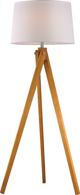 Wooden Tripod Floor Lamp - Wood Tone, Medium.