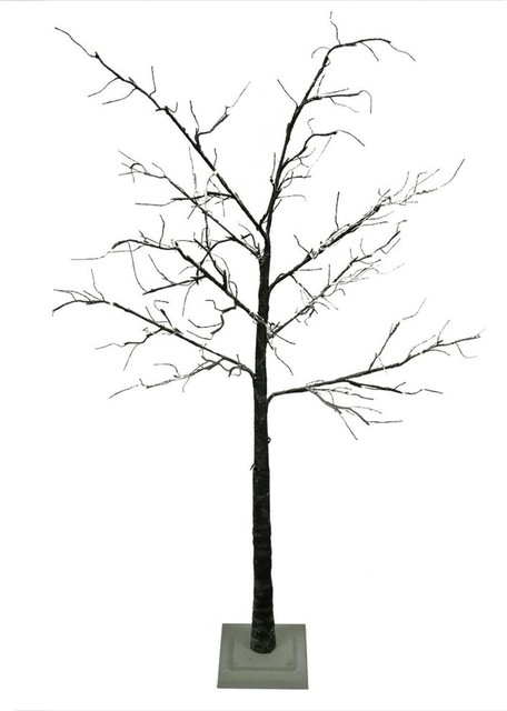 LED Lighted Flocked Christmas Twig Tree Outdoor Yard Art Decoration, Warm  Clear