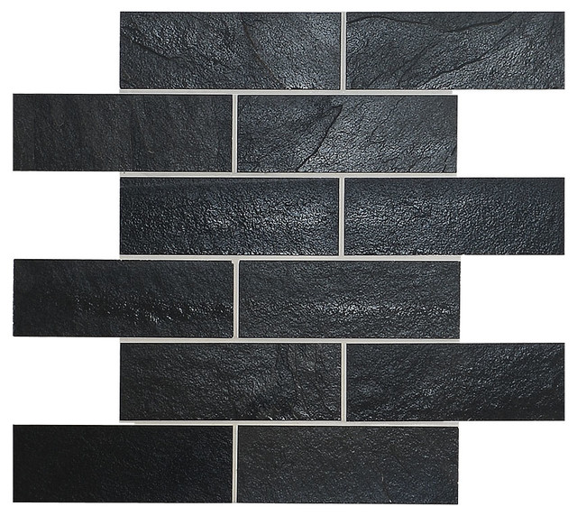 Black Slate Mosaic Kitchen Backsplash Tile 12 X12 Modern Mosaic Tile