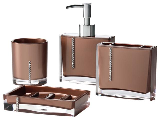 Crystal 4 piece bathroom accessory set modern bathroom for Brown bathroom accessories
