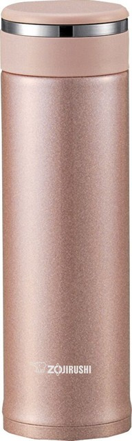 Stainless Mug With Tea Leaf Filter, Pink Champagne.