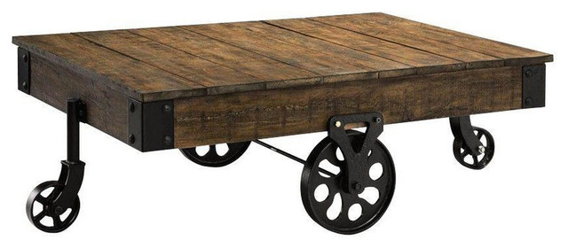 """Natural Reclaimed Industrial Cart Table, 47"""""""