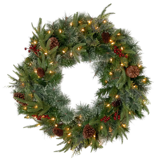 "30"" ""feel-Real"" Colonial Wreath With Berries, Cones And 50 Clear Lights-Ul."