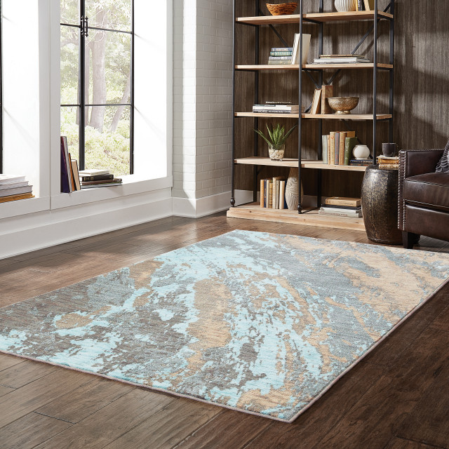 """Casa Marble Rug, Blue and Gray, 1'10""""x3'"""