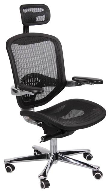 Office Factor, Ergonomic Executive Mesh Chair High Back Aluminum ...