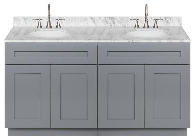 Cherry Double Bathroom Vanity 60, Cara White Marble Top, Faucet Lb7b.
