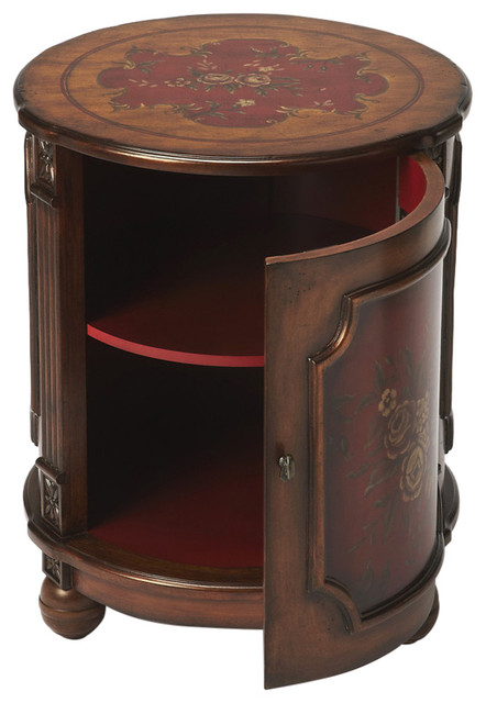 Butler Thurmond Red Hand Painted Drum Table Traditional Side Tables And End