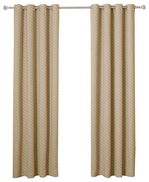 Diagonal Stripe Room Darkening Grommet Curtains, Pair, Beige