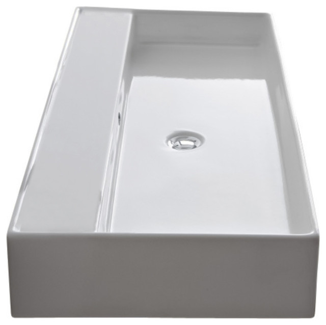 Rectangular White Ceramic Wall Mounted Or Vessel Sink, No Hole