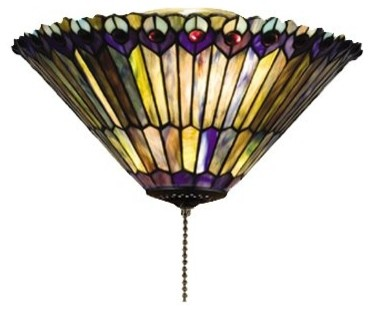 Meyda Tiffany Jeweled Peacock Flush Mount Ceiling Light X-83472.