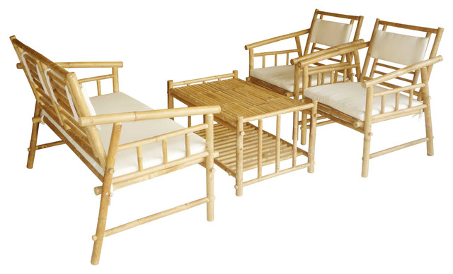 Bamboo Sofa Set With 1 Love Seat, 2 Chairs, and 1 Table - Living ...