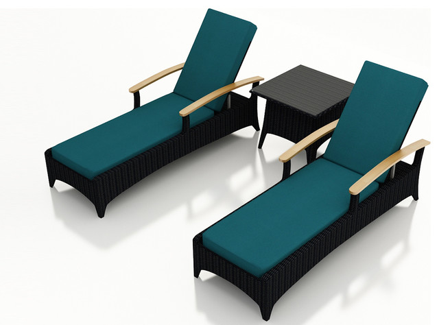 Arbor 3 Piece Modern Outdoor Reclining Chaise Lounge Set