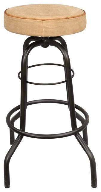 Marvelous Iron Pipe Base Barstool With Canvas Seat Evergreenethics Interior Chair Design Evergreenethicsorg