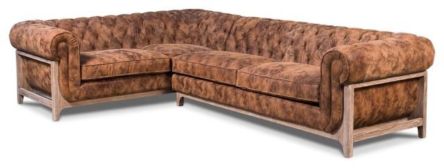 Remarkable 114 Saloon Sectional Top Grain Leather Handmade Ash Wood Frame Brown Stain Creativecarmelina Interior Chair Design Creativecarmelinacom