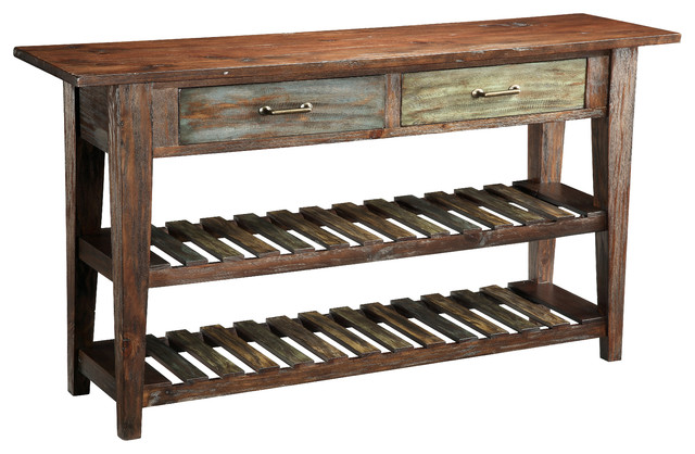 Great Aged Multicolor Two Drawer Console Table Beach Style Console Tables