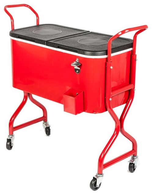 HIO 80 Qt Outdoor Patio Cooler Table On Wheels, Rolling Cooler, Red  Midcentury