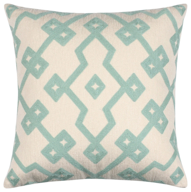 18 X Embroidered Cotton Geometric Powder Blue Throw Pillow Cover