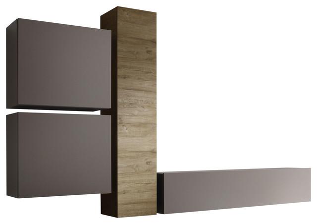 Cube 4-Piece Modular Living Room Furniture Set, Honey Oak