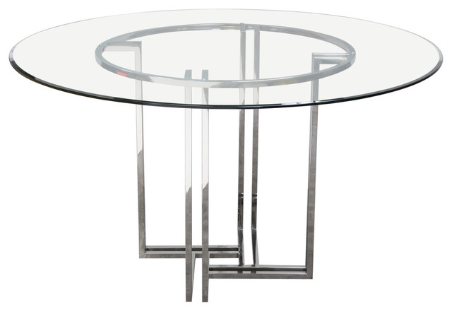 Deko Polished Stainless Steel Round Dining Table W Clear Tempered Gl Top