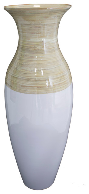 """Kelly 29"""" Spun Bamboo Floor Vase in Natural and White"""