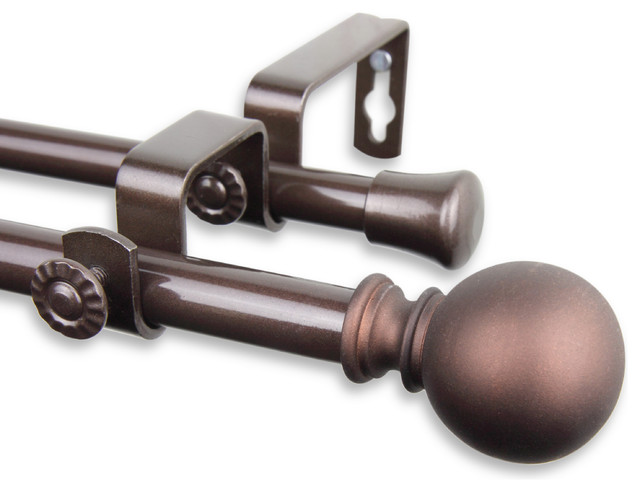 "Luna Double Curtain Rod 5/8""WW 28-48""D, Cocoa"
