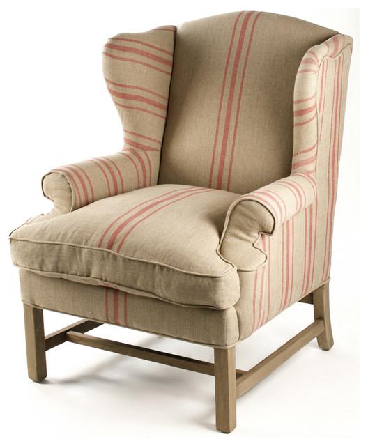Khaki Linen English Club Chair With Red Stripe