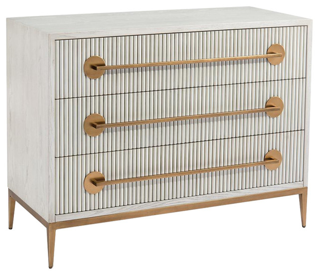 Modern Classic Carlyle Ash Gold Handle 3 Drawer Chest Contemporary