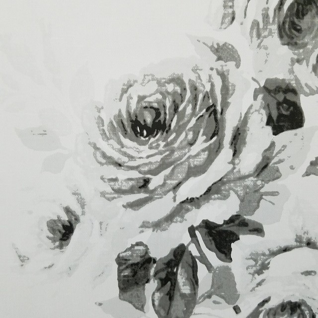 Magnolia Home Tea Rose White And Black Floral Wallpaper, Single Roll.