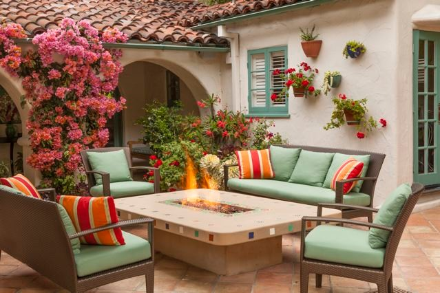 Spanish Colonial Revival Home Rustic Patio