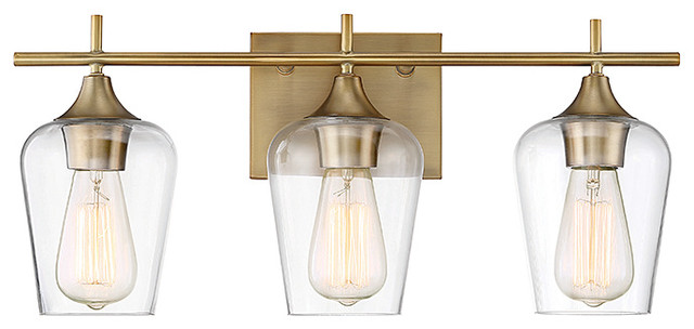 Octave 2-Light Vanity Fixture, Warm Brass, 3-Light