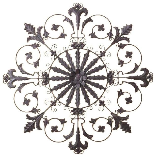 50 Round Tuscan Iron Metal Fleur De Lis Hanging Wall
