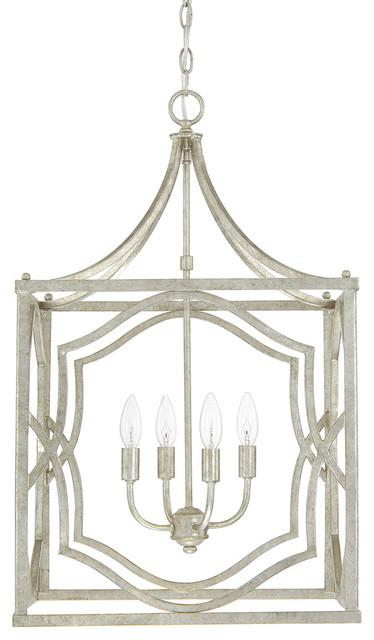 Blakely 4-Light Foyer Pendants, Antique Silver.