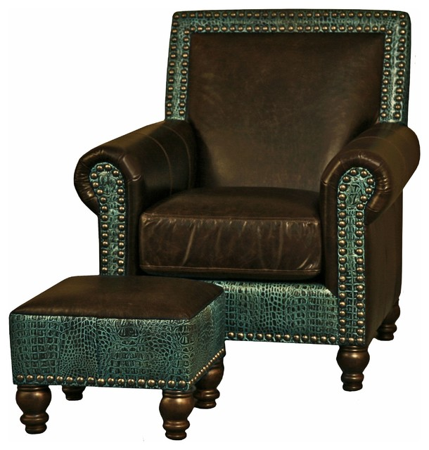 Western Brown U0026 Turquoise Leather Nailhead Arm Chair