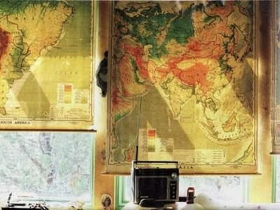 Vintage roll-up maps as roller shades