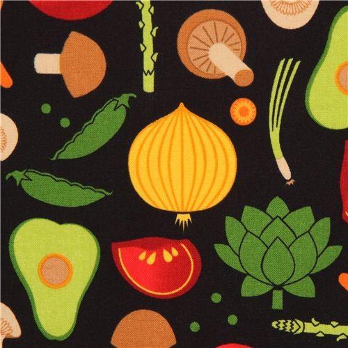 black vegetable fabric by Robert Kaufman USA Metro Market