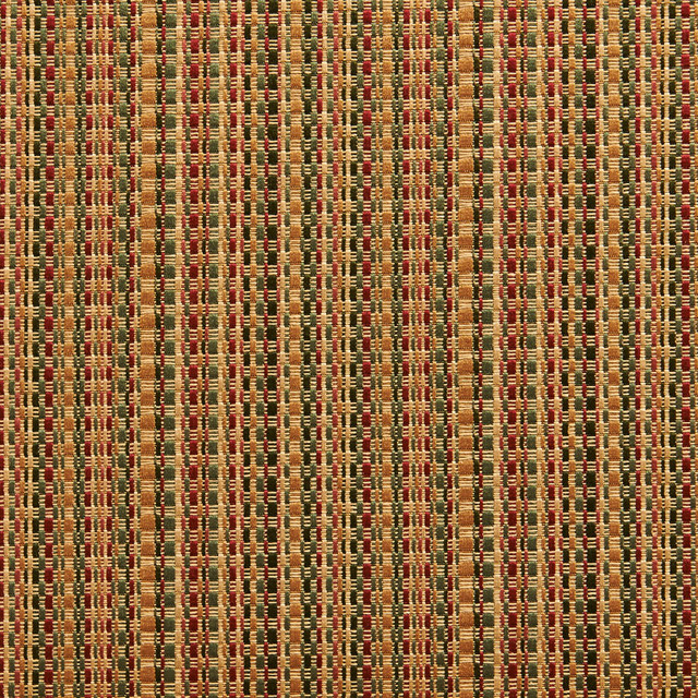 Green, Gold And Burgundy Woven Striped Faux Silk Upholstery Fabric