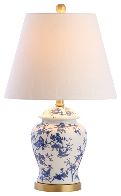 "Penelope 22"" Chinoiserie Table Lamp, Blue/white."