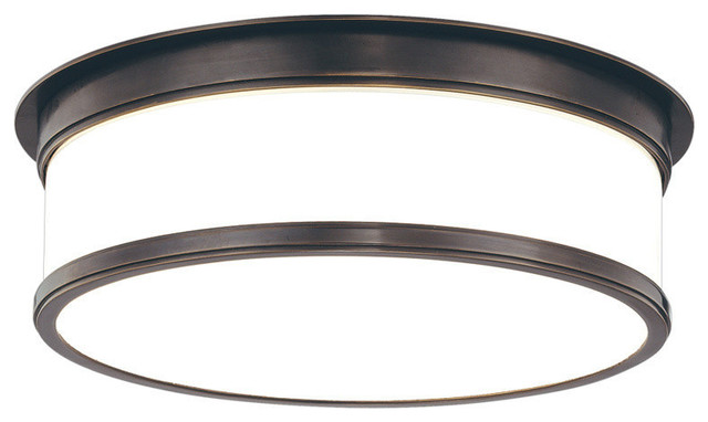 Geneva, 15 Flush Mount, Old Bronze Finish, Opal Glossy Glass Shade.