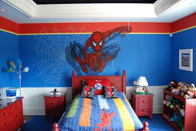 Avengers murals hand painted throughout a boy 39 s bedroom - Avengers room decor ideas ...